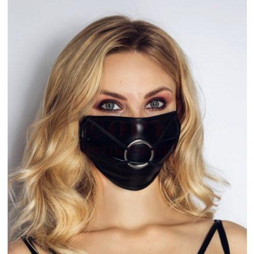 Noir exkluzív emeltfényű szájmaszk fémgyűrűvel