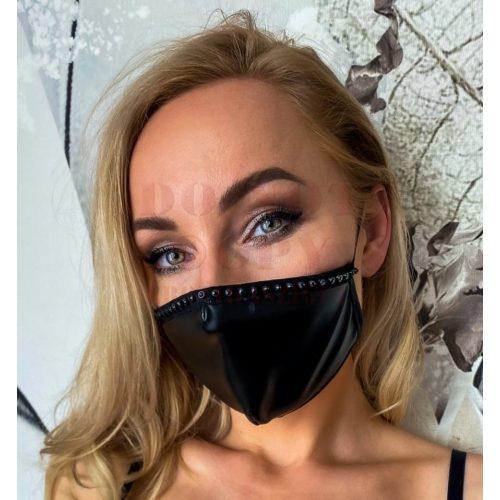 Strasszos fényes fekete maszk - Noir