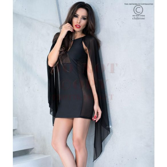 Exkluzív fekete Chilirose miniruha - S