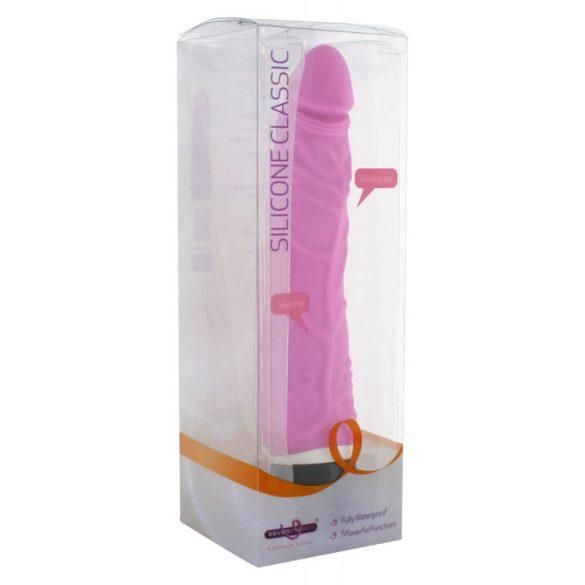 Klasszikus szilikon vibrátor - keskeny (rózsaszín)