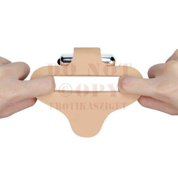 Bőrhatású, vibrációs gömbös szendvicsszex dildó - kicsi