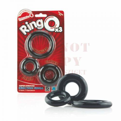 Ringo fekete szilikon péniszgyűrű szett