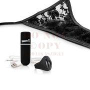 Tölthető vibrációs csipkés fekete tanga - Mysecret Screaming Panty