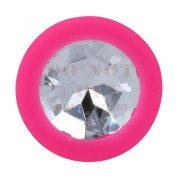 Easytoys rózsaszín szilikon análdugó áttetsző kővel - kicsi